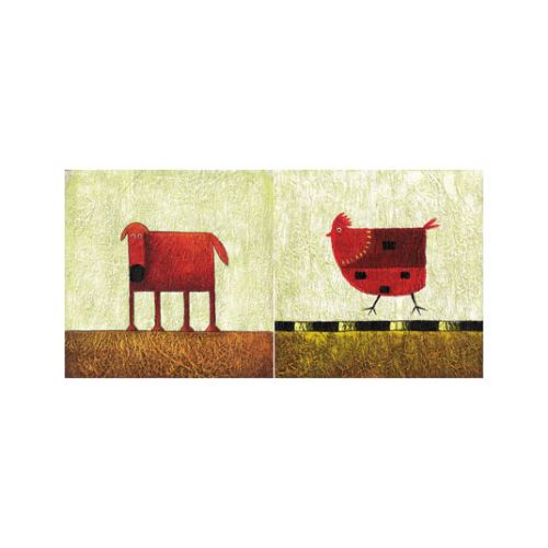 Red Animals 2 Parça Kanvas Tablo 80X40 Cm