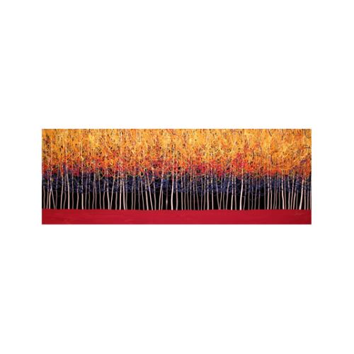 Red Trees 3 Parça Kanvas Tablo 40x120 Cm