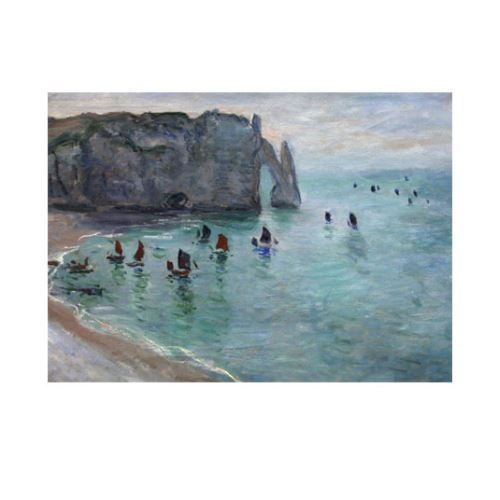 Etretat The Aval Door Fishing Boats Leaving 50x70 cm