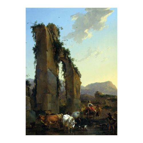 Nicolaes Berchem - Peasants With Cattle by a Ruined Aqueduct 50x70 cm