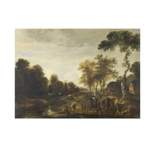 Aert van der Neer - An Evening Landscape with a Horse and Cart by a Stream 50x70 cm