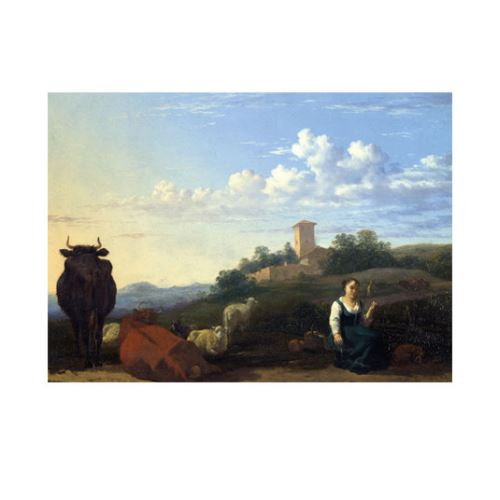 Karel Dujardin - A Woman with Cattle and Sheep in an Italian Landscape 50x70 cm