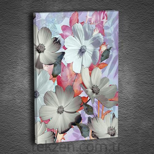 Artmoda Pink and White Flowers Kanvas Tablo 70x50 cm