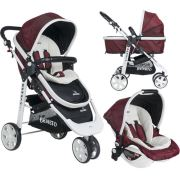 Beneto BT-530 Trio White Line Jogger Travel Sistem Bebek Arabası Bordo