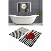 Chilai Home Heart Line 3'lü Set Banyo Paspası 60x100/50x60/40x60cm
