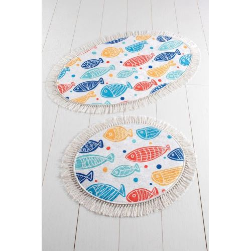 Chilai Home Fish Colourful Djt 2'Li Set Banyo Halısı 60x100/50x60cm