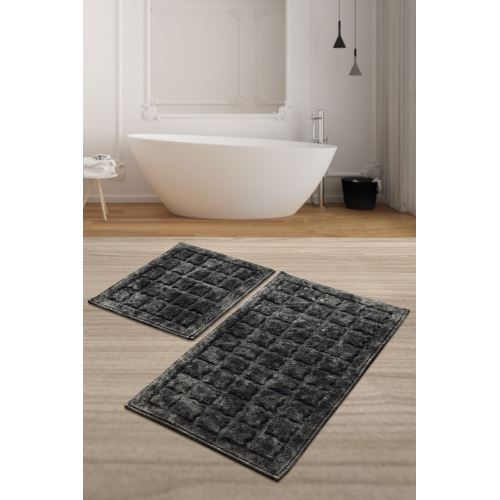 Chilai Home Jean Cotton Antrasit 2'li Set Banyo Halısı 60x100/50x60cm