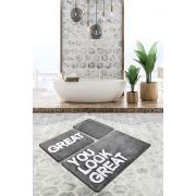 Chaili Home Great Gri 3'lü Set Banyo Halısı 60x100-50x60-40x60 cm