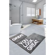 Chaili Home Great Gri 2'li Set Banyo Halısı 60x100 - 50x60 cm