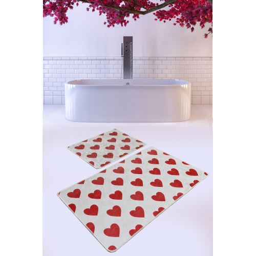 Chilai Home Corazon Red Djt 2'li Set Banyo Halısı