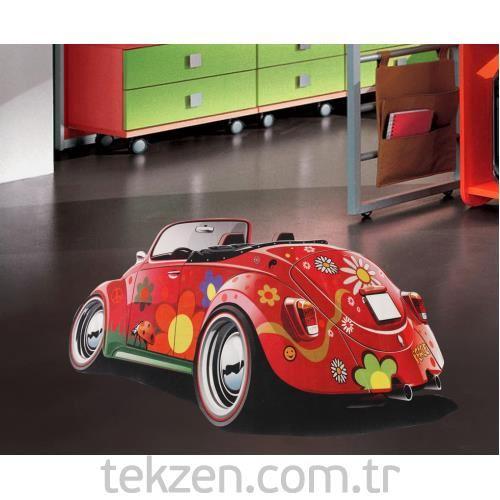 Dekoreko çocuk Halı üstü Açık Araba Kırmızı 90x140 Cm Tekzen