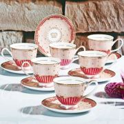 Konstar 11856P Bone China Fincan Seti Pembe