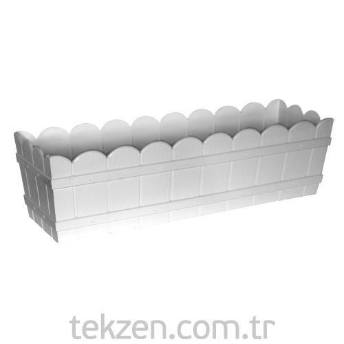 Ozlider 096 Beyaz Kucuk Balkon Saksisi Dikdortgen Tekzen