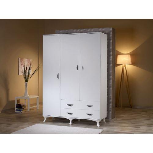 1f495cb15016f Mobusta Magna 3 Kapaklı Parlak Beyaz Elbise Dolabı Gardırop | Tekzen