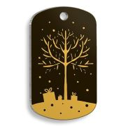 Pet Tag Art - Christmas Serisi Gold Merry Christmas Tree Asker Kedi ve Köpek Künyesi