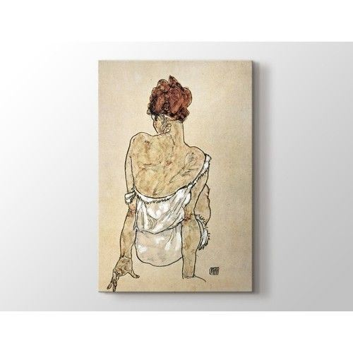 Egon Schiele - Zittende Vrouw on the Rug Tablo Dikey