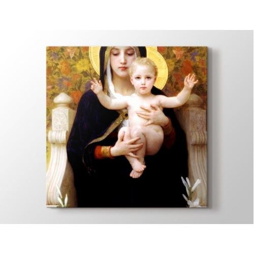 William Bouguereau - La Vierge au lys Tablo Kare