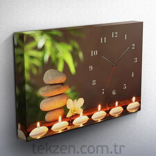 Tabloshop - Candles Kanvas Tablo Saat - 45x30cm