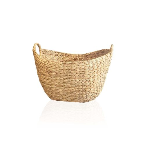 The Mia Hasır Kulplu Oval Sepet 38x32x26 Cm - Naturel