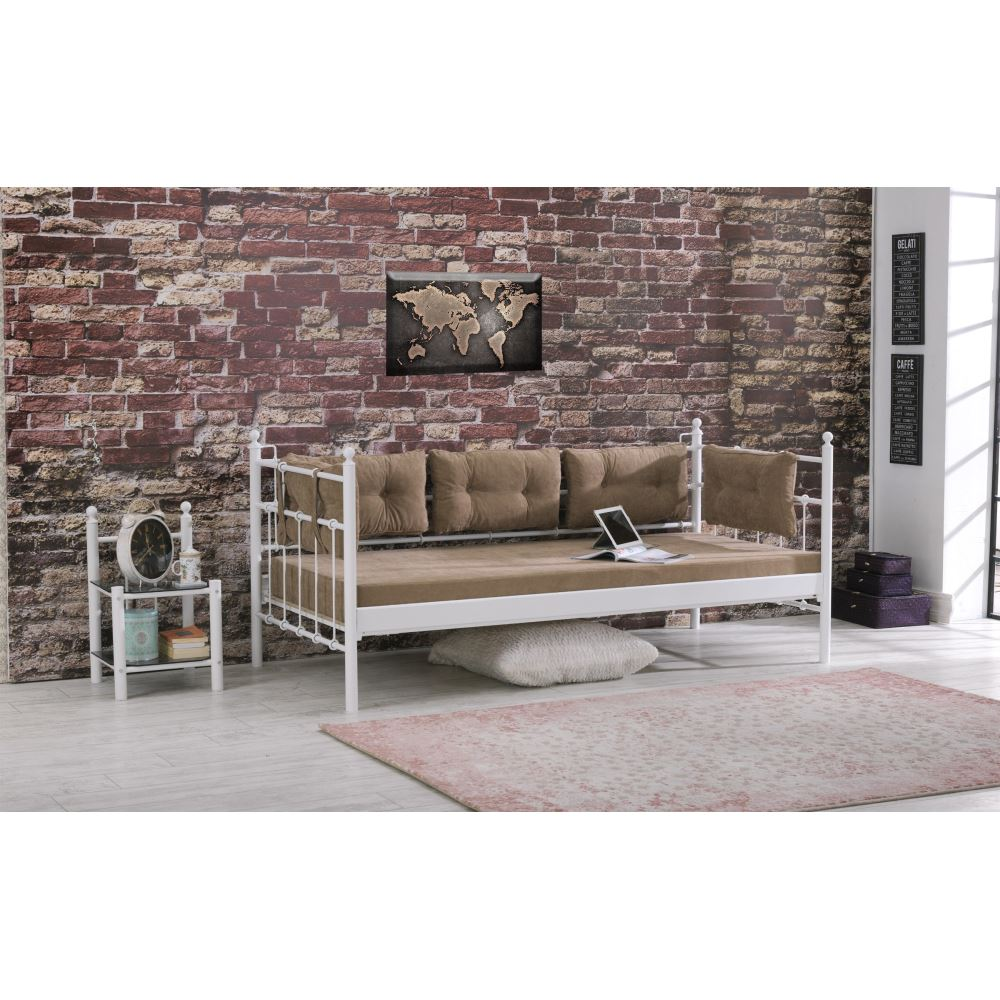 Unimet lalas metal sofa sedir 90x200 beyaz mindersiz for Sofa 90x200