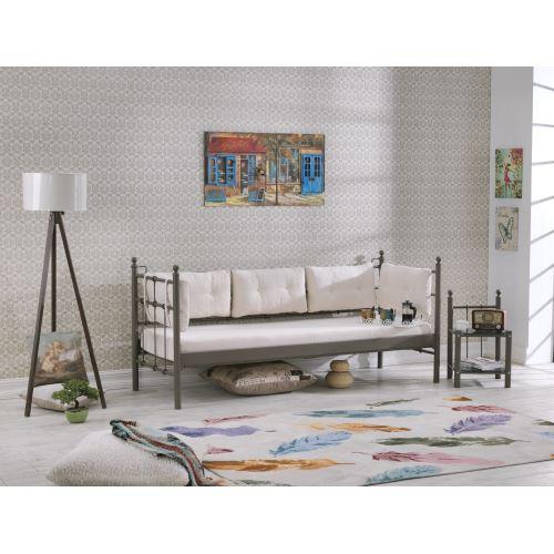 Unimet lalas metal sofa sedir 90x200 kahverengi bej tekzen for Sofa 90x200