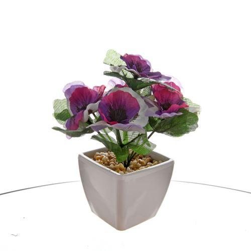 Vitale Saksıda Mor Yapay çiçek Tekzen